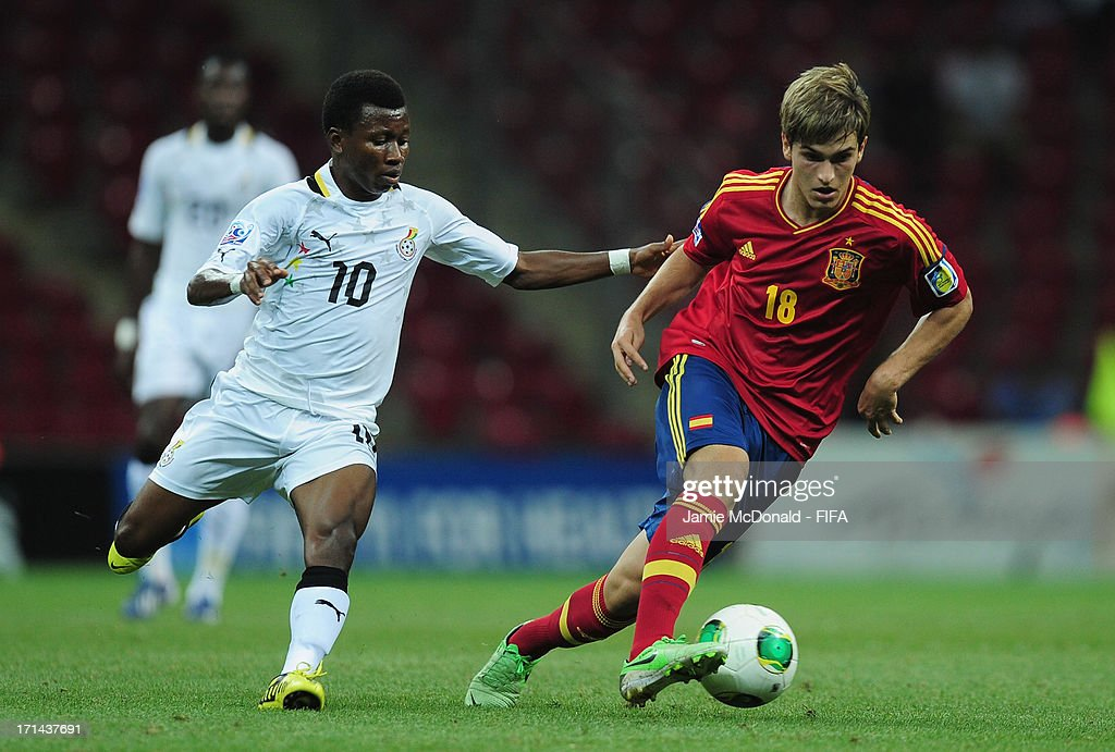 Denis Suarez of Spain battles with Clifford Aboagye of Ghana during the FIFA U-20 World Cup Group A match between Spain and Ghana at the Ali Sami Yen Arena on June 24, 2013 in Istanbul, Turkey.