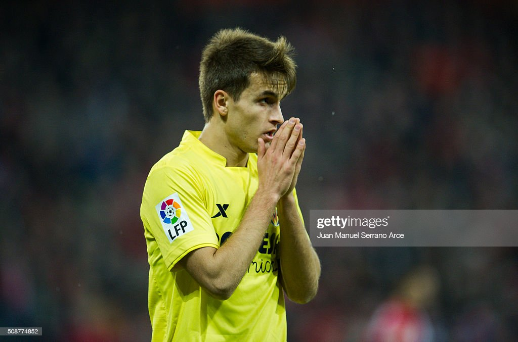 <a gi-track='captionPersonalityLinkClicked' href=/galleries/search?phrase=Denis+Suarez&family=editorial&specificpeople=8006670 ng-click='$event.stopPropagation()'>Denis Suarez</a> of Villarreal CF reacts during the La Liga match between Athletic Club Bilbao and Villarreal CF at San Mames Stadium on February 6, 2016 in Bilbao, Spain.