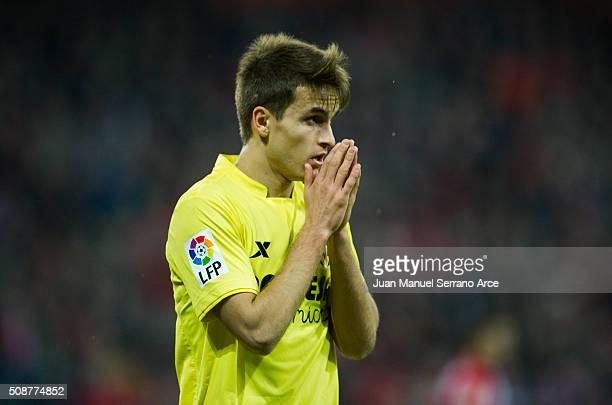 Denis Suarez of Villarreal CF reacts during the La Liga match between Athletic Club Bilbao and Villarreal CF at San Mames Stadium on February 6 2016...