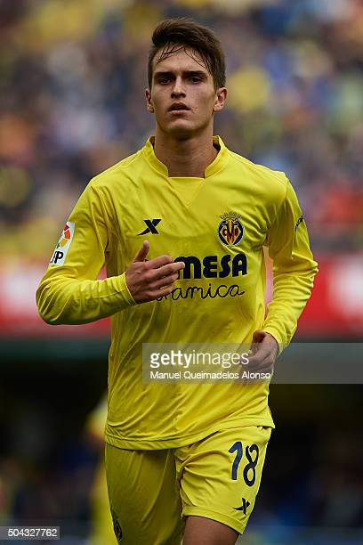 Denis Suarez of Villarreal looks on during the La Liga match between Villarreal CF and Real Sporting de Gijon at El Madrigal on January 10 2016 in...