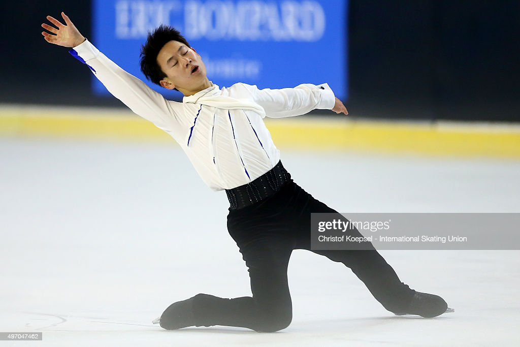 <a gi-track='captionPersonalityLinkClicked' href=/galleries/search?phrase=Denis+Ten&family=editorial&specificpeople=5776186 ng-click='$event.stopPropagation()'>Denis Ten</a> of Kazachstan skate during men short program of the ISU Grand Prix at Meriadeck Ice Rink on November 13, 2015 in Bordeaux, France.