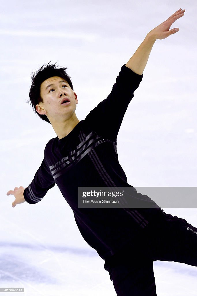 <a gi-track='captionPersonalityLinkClicked' href=/galleries/search?phrase=Denis+Ten&family=editorial&specificpeople=5776186 ng-click='$event.stopPropagation()'>Denis Ten</a> of Kazakhstan in action during a practice session ahead of the ISU World Figure Skating Championships at Shanghai Oriental Sports Center on March 25, 2015 in Shanghai, China.