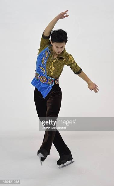 Denis Ten of Kazakhstan performs during his Mens Free Skate during day two of Trophee Eric Bompard ISU Grand Prix of Figure Skating at the Meriadeck...