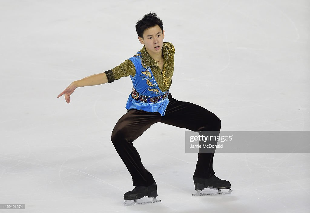 <a gi-track='captionPersonalityLinkClicked' href=/galleries/search?phrase=Denis+Ten&family=editorial&specificpeople=5776186 ng-click='$event.stopPropagation()'>Denis Ten</a> of Kazakhstan performs during his Mens Free Skate during day two of Trophee Eric Bompard ISU Grand Prix of Figure Skating at the Meriadeck Ice Rink on November 22, 2014 in Bordeaux, France.