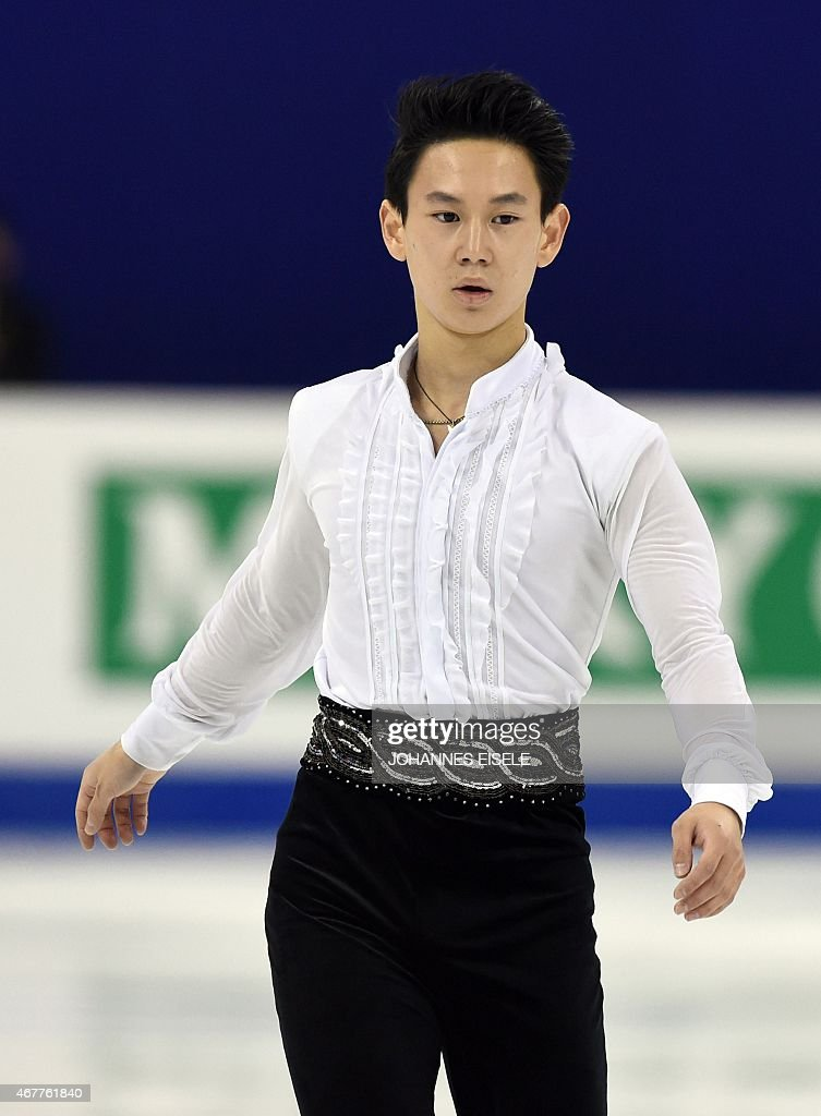 <a gi-track='captionPersonalityLinkClicked' href=/galleries/search?phrase=Denis+Ten&family=editorial&specificpeople=5776186 ng-click='$event.stopPropagation()'>Denis Ten</a> of Kazakhstan performs during the men's short program of the 2015 ISU World Figure Skating Championships at Shanghai Oriental Sports Center in Shanghai, on March 27, 2015.