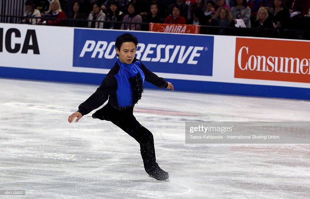 <a gi-track='captionPersonalityLinkClicked' href=/galleries/search?phrase=Denis+Ten&family=editorial&specificpeople=5776186 ng-click='$event.stopPropagation()'>Denis Ten</a> of Kazakhstan performs in the mens free skate in October 24, 2015 in Milwaukee, Wisconsin.