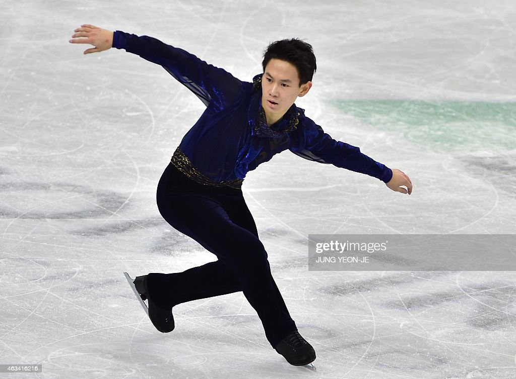 <a gi-track='captionPersonalityLinkClicked' href=/galleries/search?phrase=Denis+Ten&family=editorial&specificpeople=5776186 ng-click='$event.stopPropagation()'>Denis Ten</a> of Kazakhstan performs in the men's free skating during the ISU Four Continents Figure Skating Championships in Seoul on February 14, 2015.