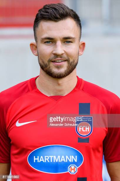 Denis Thomalla of 1 FC Heidenheim poses during the team presentation at Voith Arena on July 8 2017 in Heidenheim Germany