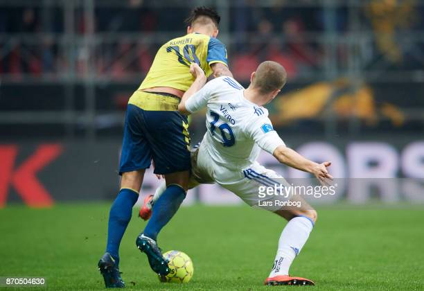 Denis Vavro of FC Copenhagen and Jan Kliment of Brondby IF compete for the ball during the Danish Alka Superliga match between FC Copenhagen and...