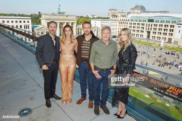 Denis Villeneuve Ana de Armas Ryan Gosling Harrison Ford and Sylvia Hoeks pose for the 'Blade Runner 2049' photo call at Akademie der Kuenste on...