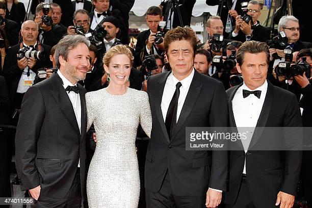 Denis Villeneuve Emily Blunt Benicio del Toro and Josh Brolin attend the 'Sicario' premiere during the 68th annual Cannes Film Festival on May 19...
