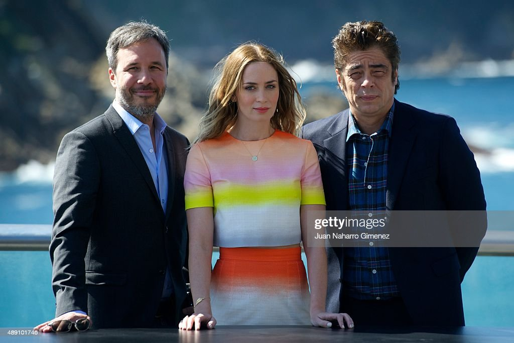 Denis Villenueve, <a gi-track='captionPersonalityLinkClicked' href=/galleries/search?phrase=Emily+Blunt&family=editorial&specificpeople=213480 ng-click='$event.stopPropagation()'>Emily Blunt</a> and Benicio del Toro attend 'Sicario' photocall during 63rd San Sebastian Film Festival on September 19, 2015 in San Sebastian, Spain.