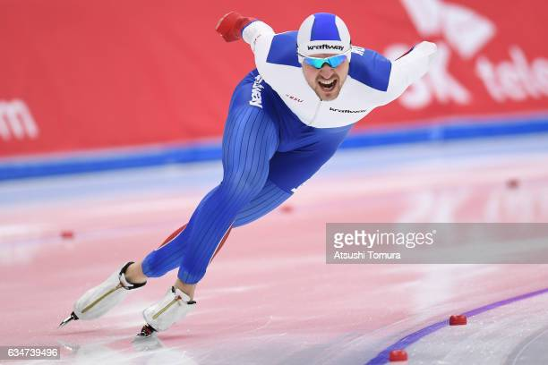 Denis Yuskov of Russia competes in the men 1000m during the ISU World Single Distances Speed Skating Championships Gangneung Test Event For...