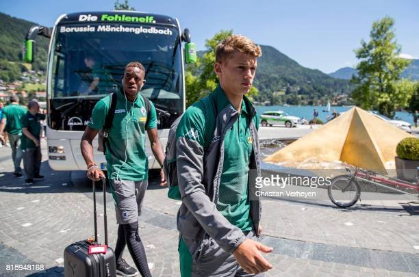 Denis Zakaria and Michael Cuisance of Borussia Moenchengladbach arrive at the Training Camp of Borussia Moenchengladbach on July 17 2017 in...