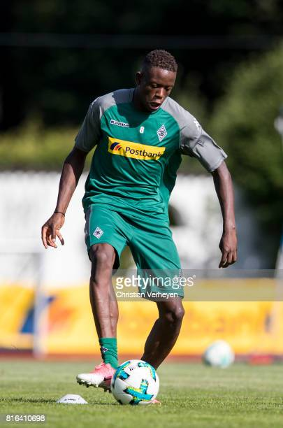Denis Zakaria controls the ball during a training session at the Training Camp of Borussia Moenchengladbach on July 17 2017 in RottachEgern Germany