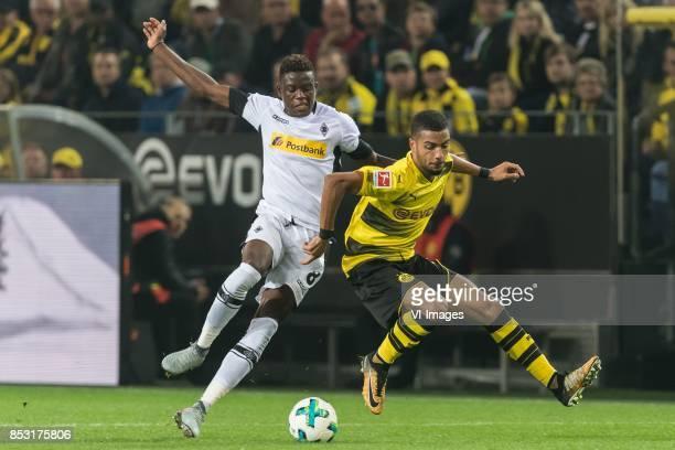 Denis Zakaria Lako Lado of Borussia Monchengladbach Jeremy Toljan of Borussia Dortmund during the Bundesliga match between Borussia Dortmund and...