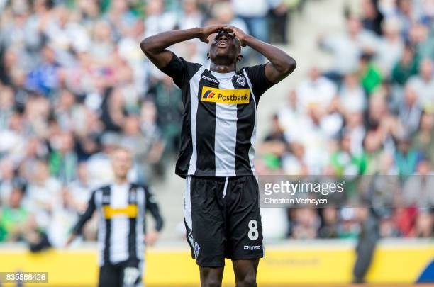 Denis Zakaria of Borussia Moenchengladbach looks disappointed during of the Bundesliga match between Borussia Moenchengladbach and 1 FC Koeln at...