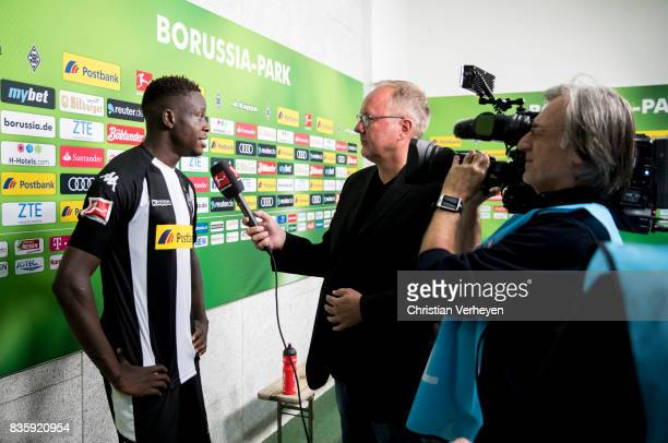 Denis Zakaria of Borussia Moenchengladbach speaks to the media after the Bundesliga match between Borussia Moenchengladbach and 1 FC Koeln at...