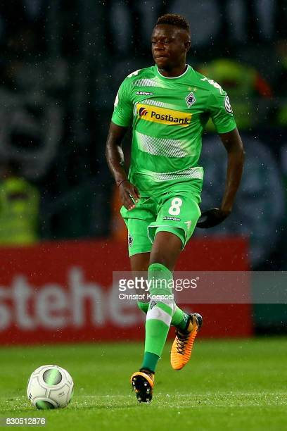 Denis Zakaria of Mnchengladbach runs with the ball during the DFB Cup first round match between RotWeiss Essen and Borussia Moenchengladbach at...