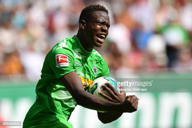 Denis Zakaria of Moenchengladbach celebrates after he scored to make it 11 during the Bundesliga match between FC Augsburg and Borussia...
