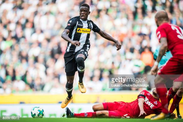 Denis Zakaria of Moenchengladbach fights for the ball during the Bundesliga match between Borussia Moenchengladbach and 1 FC Koeln at BorussiaPark on...