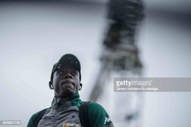 Denis Zakaria of Moenchengladbach looks on as he arrives prior to the Bundesliga match between Borussia Moenchengladbach and Hannover 96 at...