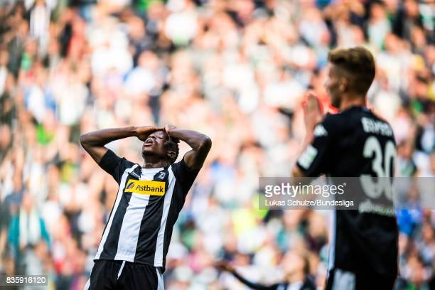 Denis Zakaria of Moenchengladbach reacts after a chance during the Bundesliga match between Borussia Moenchengladbach and 1 FC Koeln at BorussiaPark...