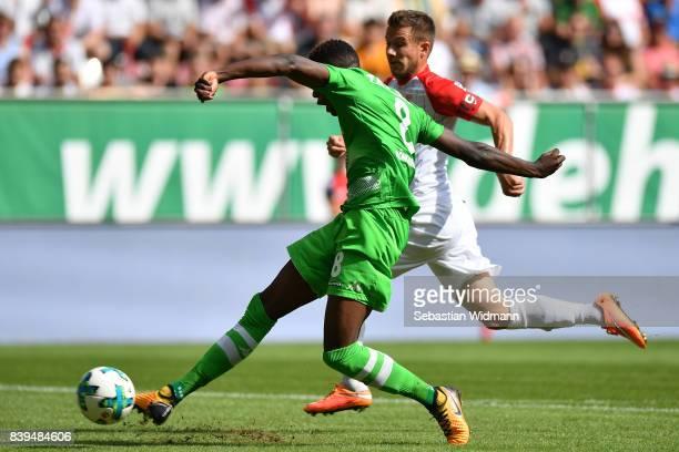 Denis Zakaria of Moenchengladbach scores to make it 11 during the Bundesliga match between FC Augsburg and Borussia Moenchengladbach at WWKArena on...