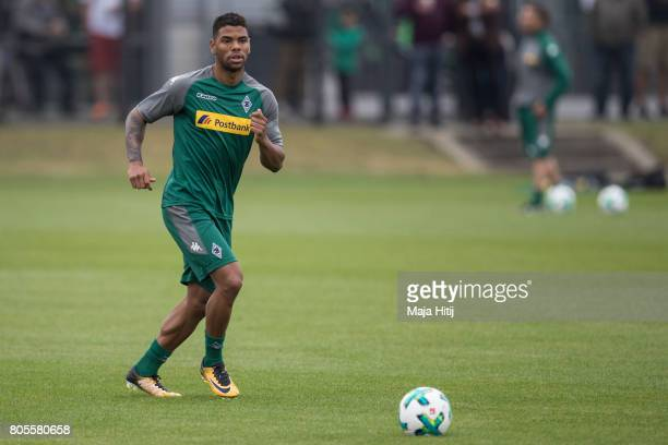 Denis Zakaria of Monchengladbach controls the ball during Training Session on July 2 2017 in Moenchengladbach Germany