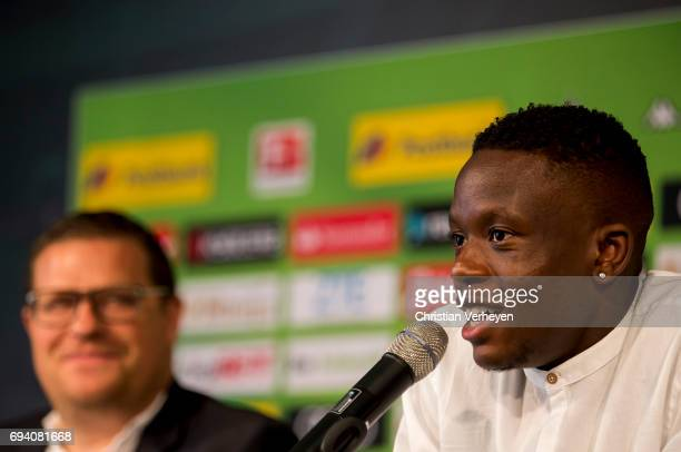 Denis Zakaria talks to the media during a press conference after signing a contract with Borussia Moenchengladbach at BorussiaPark on June 09 2017 in...
