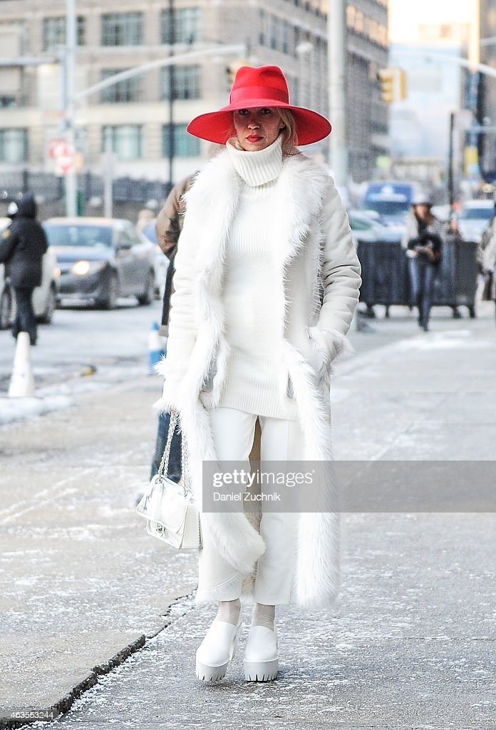 Denisa Palsha is seen outside DVF show wearing vintage jacket, Stella Mcartney shoes and a Chanel bag on February 15, 2015 in New York City.