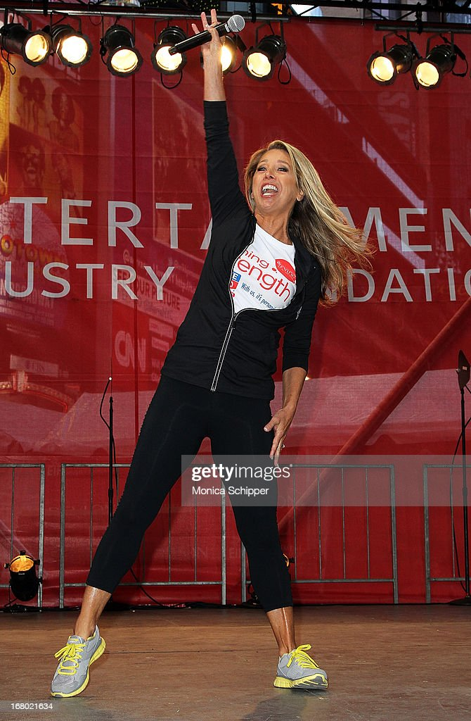 Denise Austin, Forever Fitness Spokesperson, attends the 16th annual EIF Revlon Run/Walk for Women in Times Square on May 4, 2013 in New York City.
