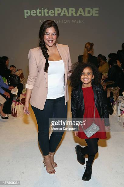 Denise Bidot and Joselyn Adams pose before the Aria Children's Clothing preview at petitePARADE / Kids Fashion Week at Bathhouse Studios on October...