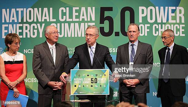 Denise Bode Secretary of the Interior Ken Salazar Senate Majority Leader Harry Reid Pattern Energy's Mike Garland and John Podesta attend a news...