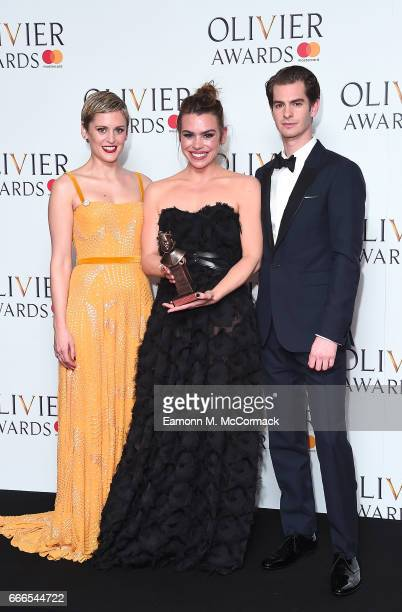Denise Gough Best Actress winner Billie Piper and Andrew Garfield pose in the winners room at The Olivier Awards 2017 at Royal Albert Hall on April 9...