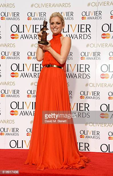 Denise Gough winner of the Best Actress award for 'People Places and Things' poses in the Winners Room at The Olivier Awards with Mastercard at The...