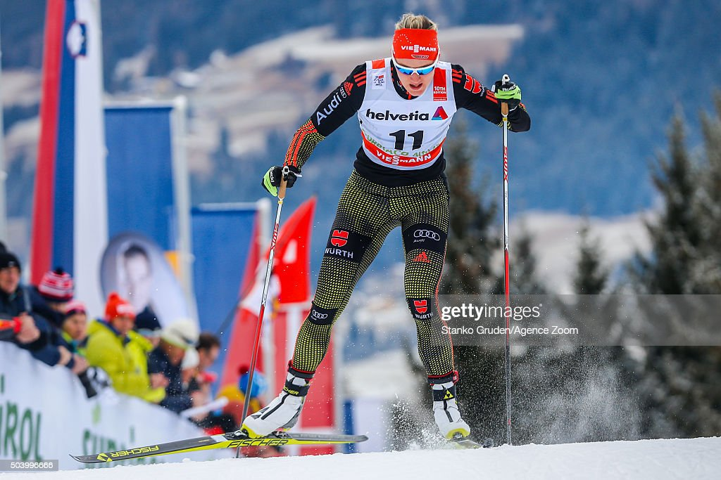<a gi-track='captionPersonalityLinkClicked' href=/galleries/search?phrase=Denise+Herrmann&family=editorial&specificpeople=6670680 ng-click='$event.stopPropagation()'>Denise Herrmann</a> of Germany competes during the FIS Nordic World Cup Men's and Women's Cross Country Tour de Ski on January 8, 2016 in Toblach Hochpustertal, Italy.
