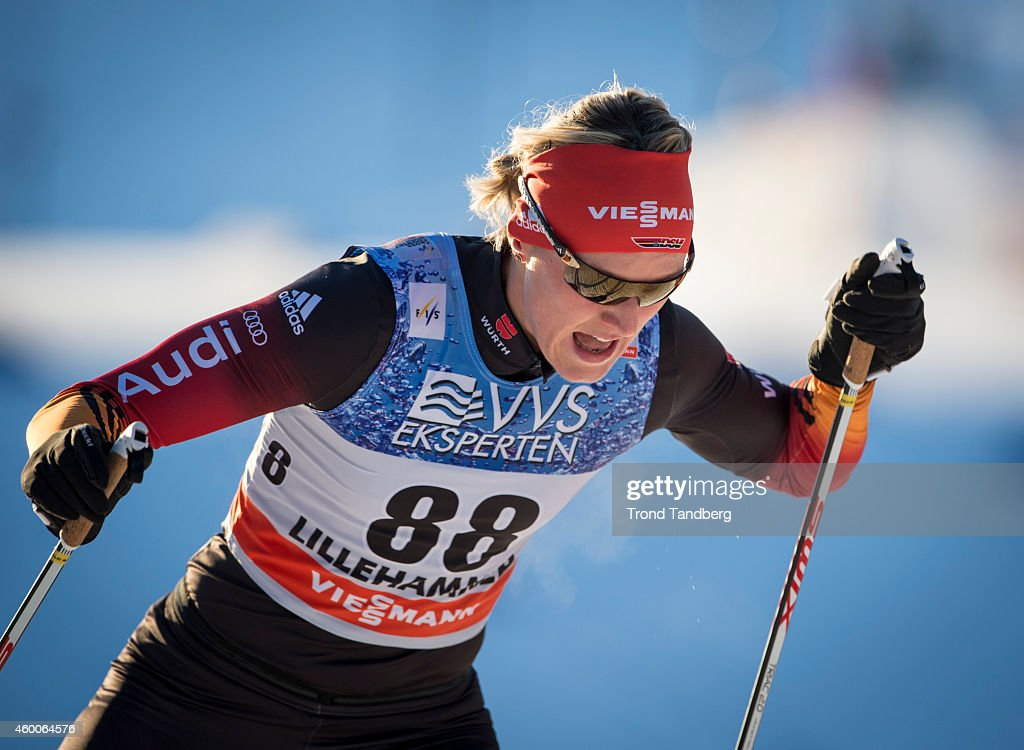 <a gi-track='captionPersonalityLinkClicked' href=/galleries/search?phrase=Denise+Herrmann&family=editorial&specificpeople=6670680 ng-click='$event.stopPropagation()'>Denise Herrmann</a> of Germany during Ladies 5 km Free Individual start at Birkebeineren Stadium on December 6, 2014 in Lillehammer, Norway.