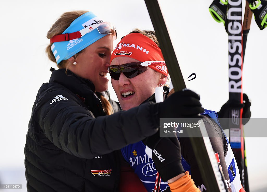 <a gi-track='captionPersonalityLinkClicked' href=/galleries/search?phrase=Denise+Herrmann&family=editorial&specificpeople=6670680 ng-click='$event.stopPropagation()'>Denise Herrmann</a> of Germany is consoled by <a gi-track='captionPersonalityLinkClicked' href=/galleries/search?phrase=Nicole+Fessel&family=editorial&specificpeople=878340 ng-click='$event.stopPropagation()'>Nicole Fessel</a> after the Women's Cross-Country Team Sprint Final during the FIS Nordic World Ski Championships at the Lugnet venue on February 22, 2015 in Falun, Sweden.