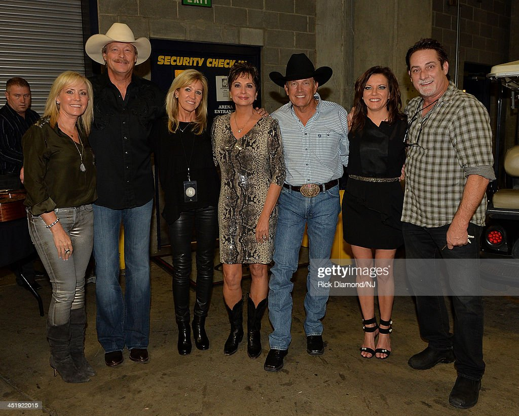 Denise Jackson, <a gi-track='captionPersonalityLinkClicked' href=/galleries/search?phrase=Alan+Jackson+-+Musician&family=editorial&specificpeople=13796586 ng-click='$event.stopPropagation()'>Alan Jackson</a>, Norma Voss, Nancy Jones, <a gi-track='captionPersonalityLinkClicked' href=/galleries/search?phrase=Martina+McBride&family=editorial&specificpeople=204772 ng-click='$event.stopPropagation()'>Martina McBride</a> and John McBride attend Playin' Possum! The Final No Show Tribute To George Jones at Bridgestone Arena on November 22, 2013 in Nashville, Tennessee.