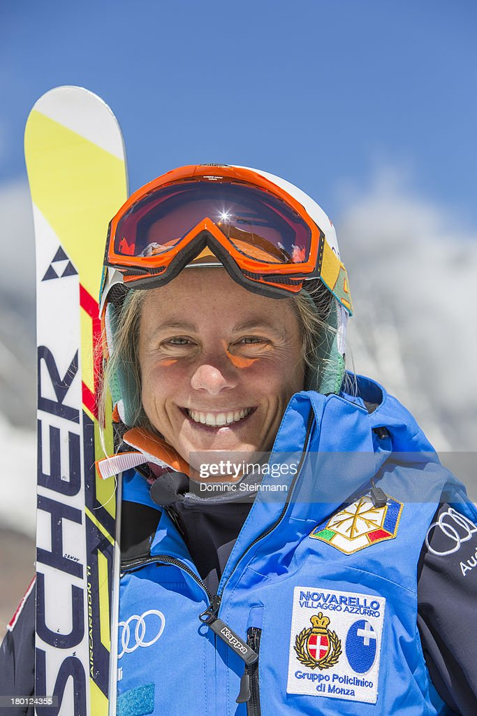 <a gi-track='captionPersonalityLinkClicked' href=/galleries/search?phrase=Denise+Karbon&family=editorial&specificpeople=878591 ng-click='$event.stopPropagation()'>Denise Karbon</a> from the Italian Alpine Skiing Worldcup Ladies Team posing for a portrait on the Fee glacier on August 13, 2013 in Saas-Fee, Switzerland.