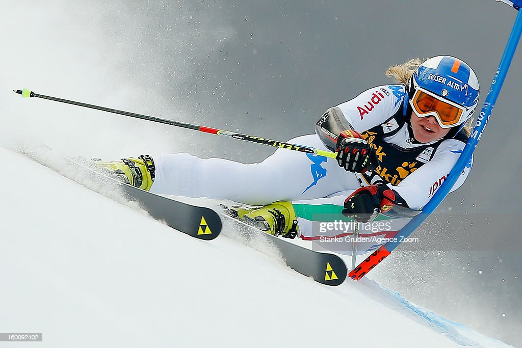 <a gi-track='captionPersonalityLinkClicked' href=/galleries/search?phrase=Denise+Karbon&family=editorial&specificpeople=878591 ng-click='$event.stopPropagation()'>Denise Karbon</a> of Italy competes during the Audi FIS Alpine Ski World Cup Women's Giant Slalom on January 26, 2013 in Maribor, Slovenia.