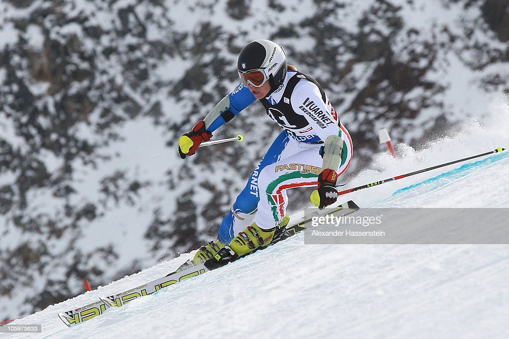<a gi-track='captionPersonalityLinkClicked' href=/galleries/search?phrase=Denise+Karbon&family=editorial&specificpeople=878591 ng-click='$event.stopPropagation()'>Denise Karbon</a> of Italy competes in the women's giant slalom event of the Woman's Alpine Skiing FIS World Cup at the Rettenbachgletscher on October 23, 2010 in Soelden, Austria.