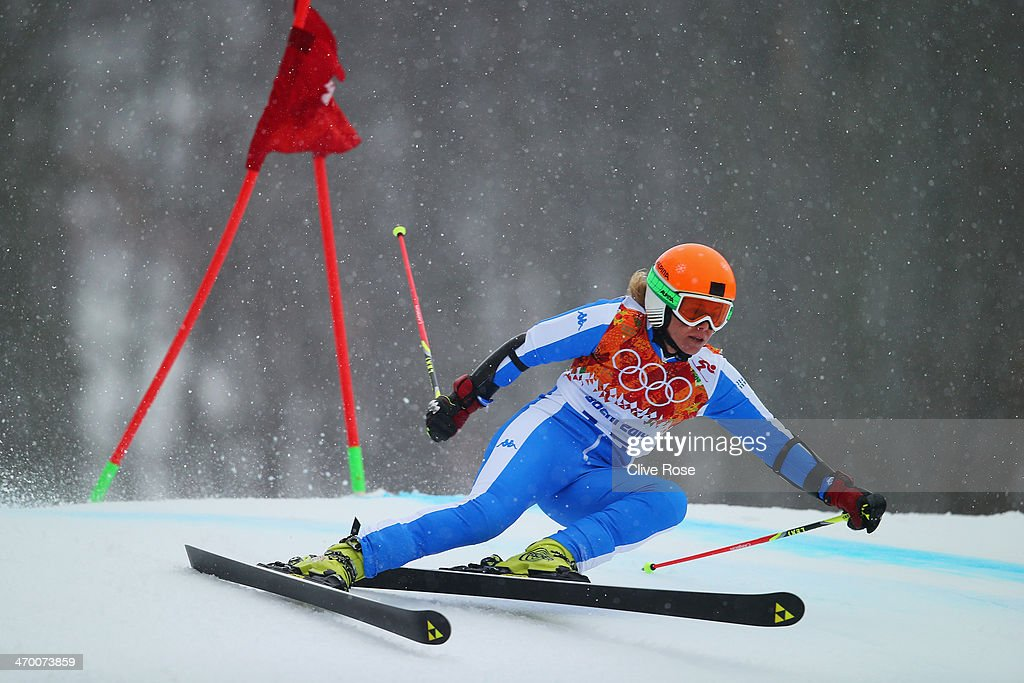 <a gi-track='captionPersonalityLinkClicked' href=/galleries/search?phrase=Denise+Karbon&family=editorial&specificpeople=878591 ng-click='$event.stopPropagation()'>Denise Karbon</a> of Italy makes a run during the Alpine Skiing Women's Giant Slalom on day 11 of the Sochi 2014 Winter Olympics at Rosa Khutor Alpine Center on February 18, 2014 in Sochi, Russia.