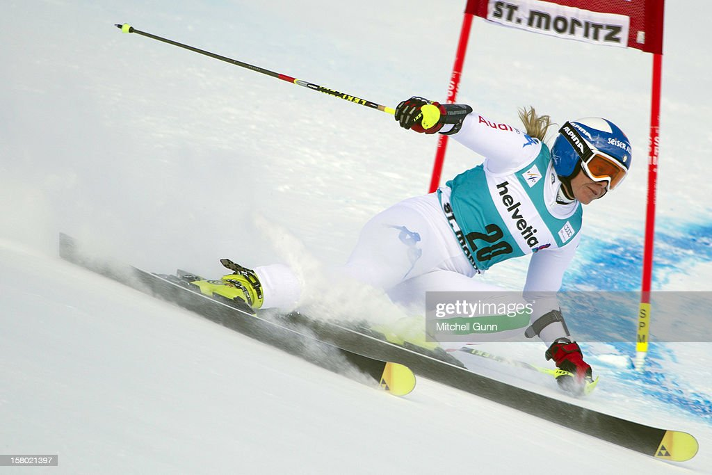 Denise Karbon of italy races down the piste during the Audi FIS Alpine Ski World Giant Slalom race on December 9 2012 in St Moritz, Switzerland.