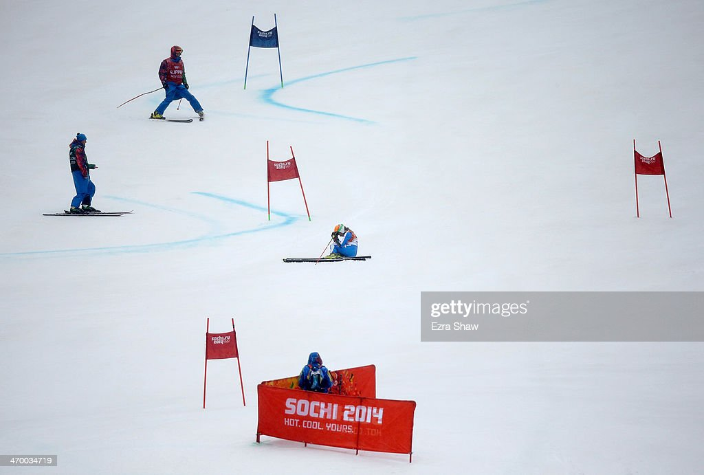<a gi-track='captionPersonalityLinkClicked' href=/galleries/search?phrase=Denise+Karbon&family=editorial&specificpeople=878591 ng-click='$event.stopPropagation()'>Denise Karbon</a> of Italy reacts after crashing during the Alpine Skiing Women's Giant Slalom on day 11 of the Sochi 2014 Winter Olympics at Rosa Khutor Alpine Center on February 18, 2014 in Sochi, Russia.