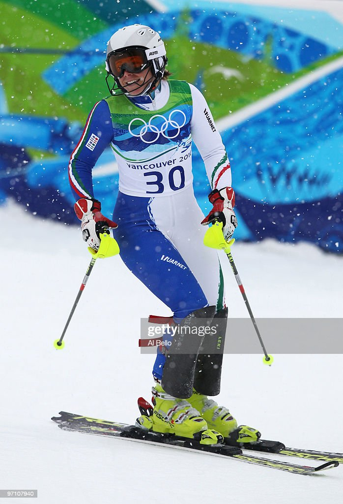 <a gi-track='captionPersonalityLinkClicked' href=/galleries/search?phrase=Denise+Karbon&family=editorial&specificpeople=878591 ng-click='$event.stopPropagation()'>Denise Karbon</a> of Italy reacts after crossing the finish line during the Ladies Slalom second run on day 15 of the Vancouver 2010 Winter Olympics at Whistler Creekside on February 26, 2010 in Whistler, Canada.