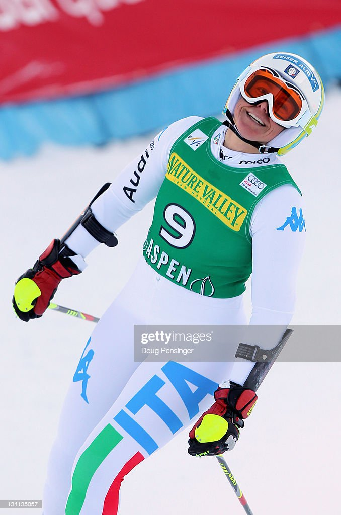 <a gi-track='captionPersonalityLinkClicked' href=/galleries/search?phrase=Denise+Karbon&family=editorial&specificpeople=878591 ng-click='$event.stopPropagation()'>Denise Karbon</a> of Italy reacts after her second run as she finished sixth in the giant slalom during the Audi FIS Women's World Cup at the Aspen Winternational on November 26, 2011 in Aspen, Colorado.