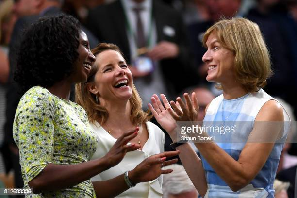 Denise Lewis Darcey Bussell and Fiona Bruce share a joke in the centre court royal box on day eight of the Wimbledon Lawn Tennis Championships at the...