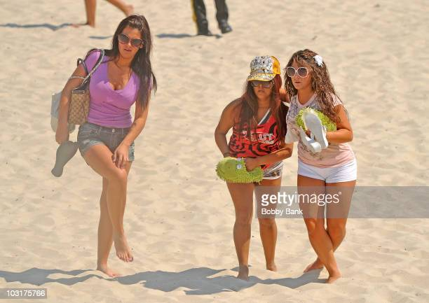 Denise Nicole Cortese Nicole 'Snooki' Polizzi and Jenni 'JWoww' Farley filming on location for 'Jersey Shore' on July 30 2010 in Seaside Heights New...